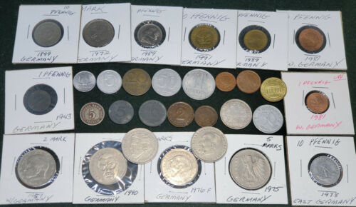 GERMANY GERMANIAN DDR LOT OF 30 COINS COLLECTION 1899 - 2004 3rd REICH RARE COIN
