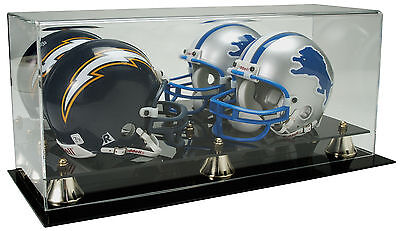 Double Football Display Case - NEW Saf-T-Gard Double NFL Mini Football Helmet Deluxe Acrylic Display Case AD11