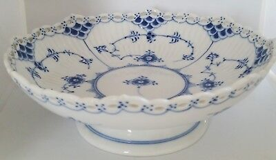 Vintage Royal Copenhagen Blue Fluted Full Lace 1023 Footed Compote Circa 1956