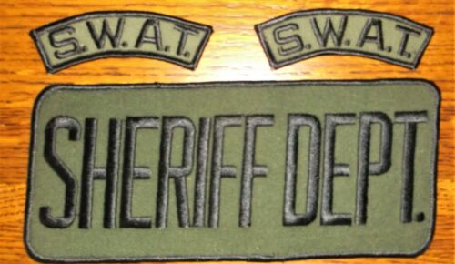 GEMSCO NOS Vintage Patch SHERIFF DEPT. JACKET PATCH & SWAT RCCKERS  - 3 PC. SET