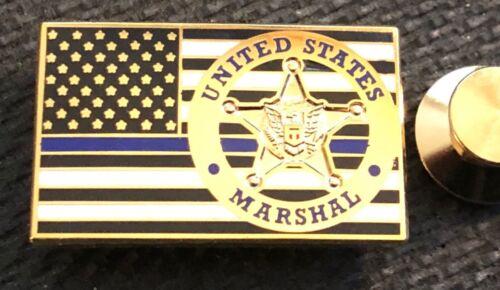 "USMS - US Marshals Service ""TBL"" Thin Blue Line gold version Lapel Pin"