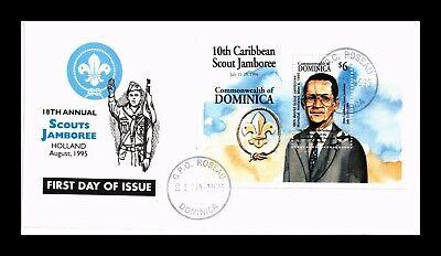 DR JIM STAMPS DOMINICA BOY SCOUTS SOUVENIR SHEET FDC MONARCH SIZE COVER