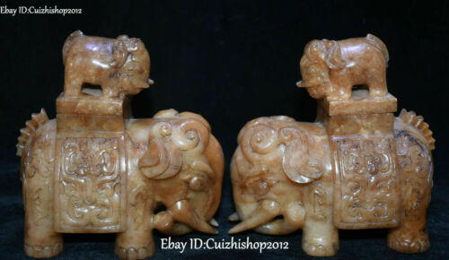 Natural Hetian old Jade Auspicious Elephant Growth Zun Canister Bottle Pair