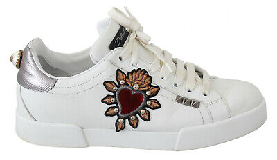 DOLCE & GABBANA Shoes Sneakers White Leather Beaded Red Heart Mens EU41 / US8