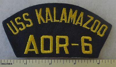 USS KALAMAZOO AOR-6 - US NAVY OILER SHIP HAT / CAP PATCH 1973-1996