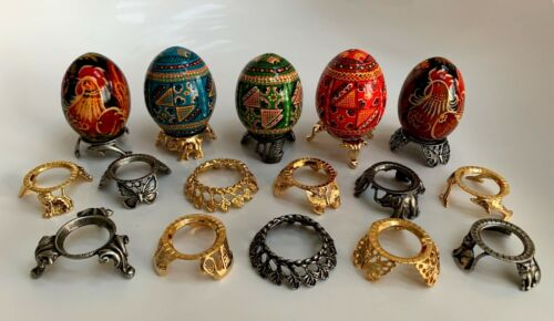 Brass or Pewter Hen Egg Stands Holder Display Pysanka Sphere Crystal Ball Stand