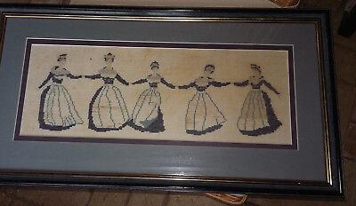 Bild Friesische Trachten tanzende Frauen RAHMEN STICKBILD frisisch blau