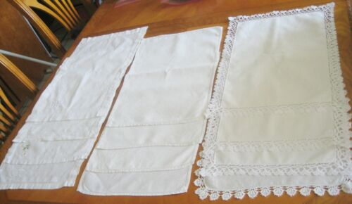 VTG lot of 12  assorted white and off white Linen Placemats  embroidered lace