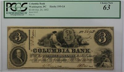 1852 Columbia Bank  3 Obsolete Currency Haxby 195 G4 Washington Dc Pcgs 63