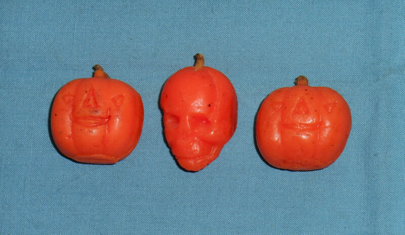 vintage Halloween GURLEY CANDLE LOT OF 3 tiny candles jack-o-lantern skull