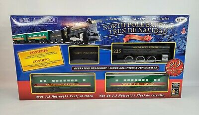 North Pole Express Christmas Train Set w/ Track, Signs, Light Posts 29 Pieces