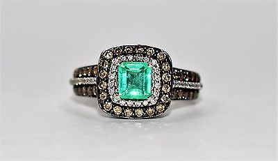 Custom LeVian 1.75tcw Colombian Emerald Chocolate Diamond 14k White Gold Ring