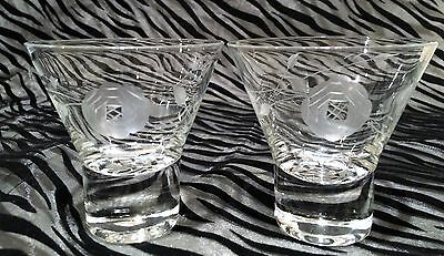 2 Javit Clear Etched Glass Cut Rose Liquor/Cocktail Glasses 3 & 1/4 inches tall