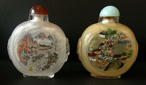 Pair of UNIQUE Vintage Chinese Hand-Painted Glass Snuff Bottles
