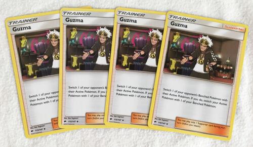 4x GUZMA 115/147 Pokemon TCG : S&M Burning Shadows Supporter