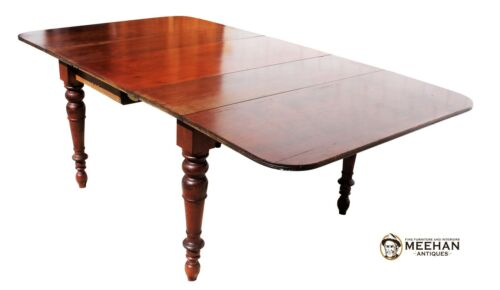 Antique English Mahogany Dining Farm Table Turned Legs