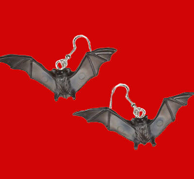 Funky BLACK BAT EARRINGS Dracula Vampire Gothic Jewelry