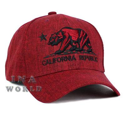 California Republic hat CA Bear Logo Snapback Curved bill Baseball cap- Maroon