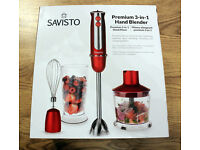 NEW Savisto 3 in 1 Hand Blender Mixer - Food Processor + Beaker + Whisk RED - WILL POST WITHIN UK