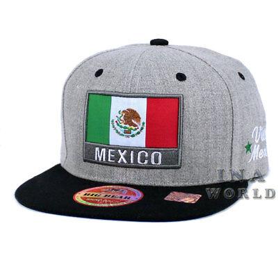 MEXICAN hat MEXICO Flag hat Snapback Flat bill Baseball cap- Heather Gray/Black