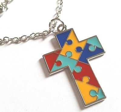 Autism Awareness Cross Charm on Silver Coloured Chain