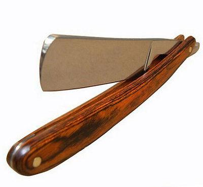 Straight Edge Steel Razor Folding Shaving Wood Handle Knife Barber Beard NEW