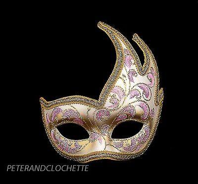 Mask Fancy Dress Wolf from Venice Colombine Swan Anna Pink Golden 832 V43