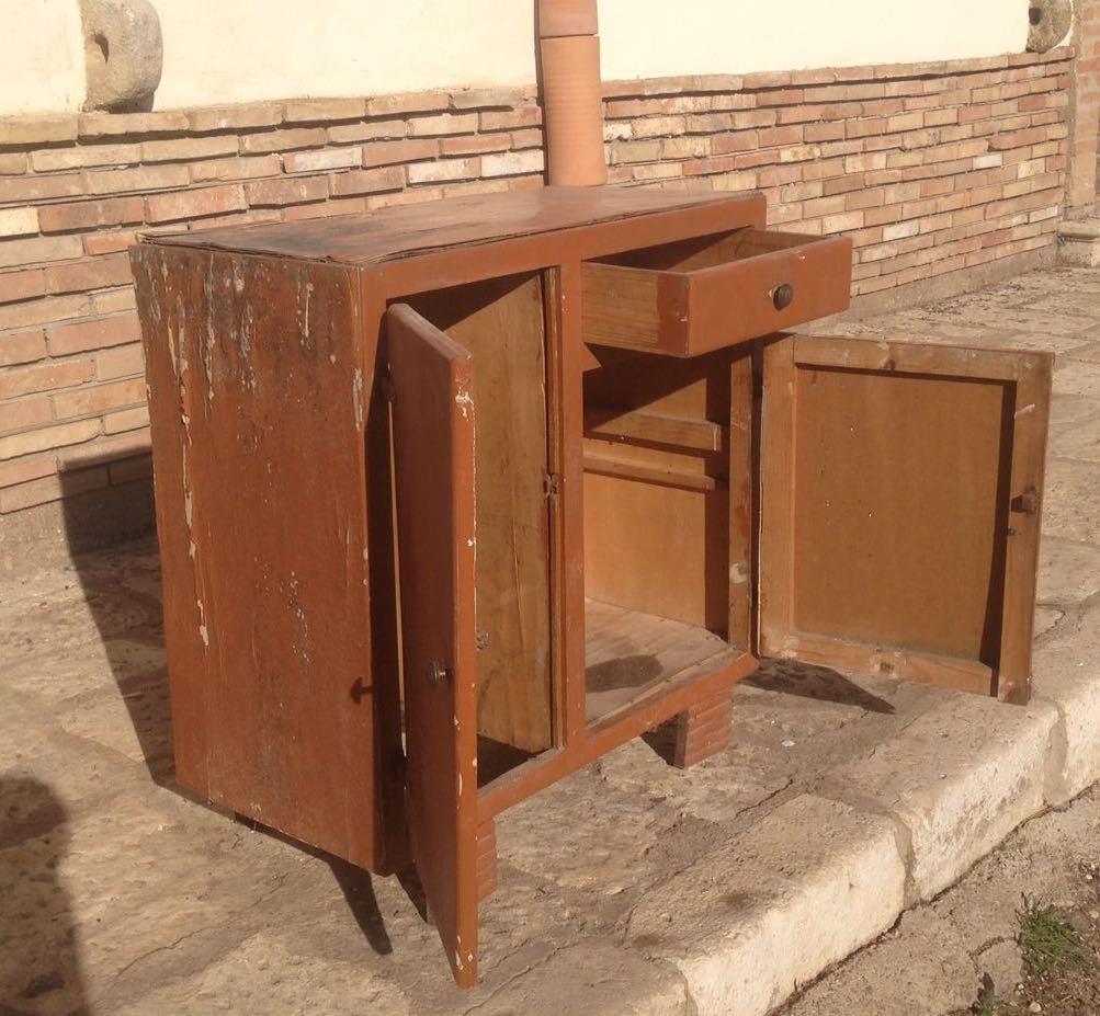 Credenza dispensa anni 50 mobile cucina basso madia modernariato vintage legno eur 49 90 - Mobile basso vintage ...