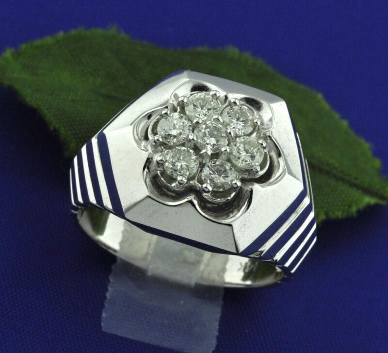 1.00 Ct 14k Solid White Gold Mens Natural Diamond Ring Prong Set  9.00 Gram