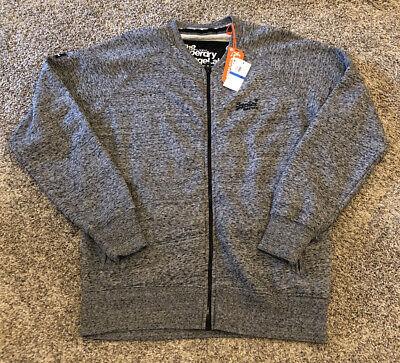 NWT The Superdry Orange Label Full Zip Sweater Sweatshirt Mens XL GRAY