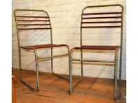 12 available metal stacking vintage chairs garden kitchen dining antique industrial cafe school