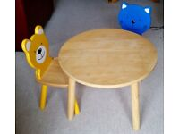 Pin Furniture by John Crane, Rubber Wood Round Table, w 2 Chairs Bear & Cat Design