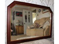 Large rectangular wall mirror in timber frame