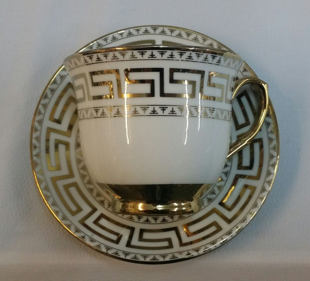 Versace Design 12pc China Tea Set Cups Plates In