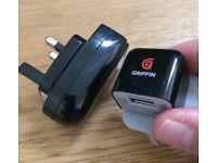 2 USB mains adaptors