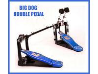 Big Dog HE002 Double Bass Drum Kick Pedals plus linkage PRO heavy duty BLUE