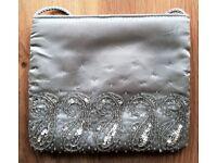 NEW Designer Bag Evening Purse Light Grey Silver Satin Clear Bead Handbag Clutch Bag Debenhams PROM
