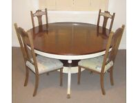 Price Drop Now £250, Down from £330! -Antique Round Wooden Dining Table with 4 Antique Chairs