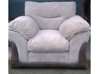 Ex-display Brown Hide and Mink Fabric Arm Chair