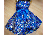 NEW ELECTRIC BLUE & SILVER FULLY SEQUINNED PARTY/STAGE DRESS!