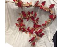 Hessian and red velvet xmas ring and matching garland