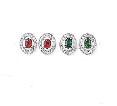 Avon Green Earrings - Red or Green Earrings Wear Stud Alone or with Rhinestone Jacket Avon in Gift Box