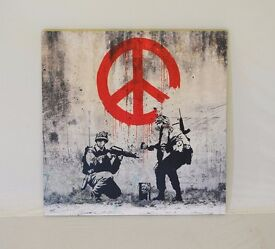 Square Banksy Canvas Print - Soldiers Painting Peace