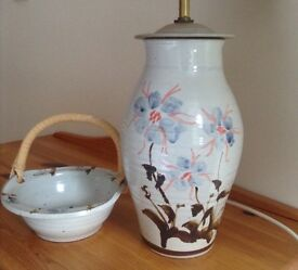 Table lamp with matching bowl, Glenshee pottery