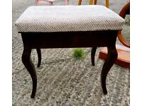 Upholstered antique piano stool