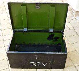 VINTAGE METAL STORAGE BOX or TRAVEL TRUNK (SECURE)