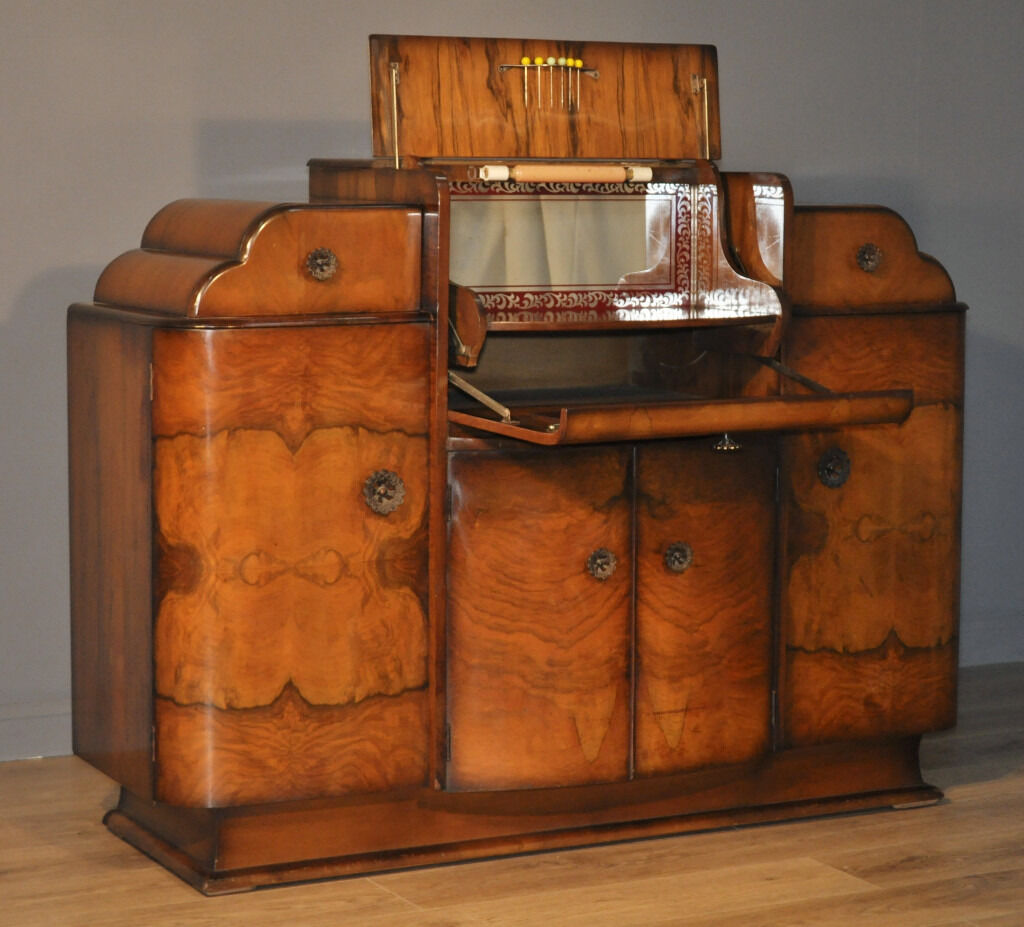 Attractive Large Vintage Art Deco Burr Walnut Sideboard Cocktail ...
