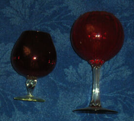 2 x Large red glasses one with made in Italy sticker
