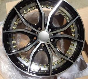 NEW! 17 inch machined face and milled undercut lip w/GOLD RIVETS!! WITH NEW LOW PROFILE TIRES!!  2218