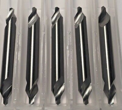 """Carbide Center Drill #4 (1/8"""" pilot) 60 degree 5-Pack Made In the USA"""